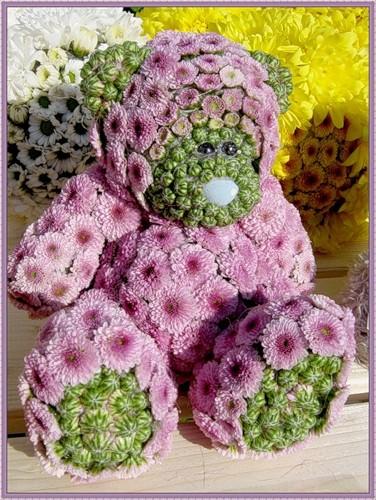 Поделка из живых цветов в садик