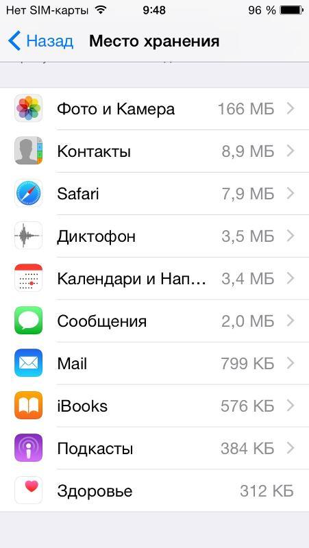 На айфоне нет памяти а приложений нету