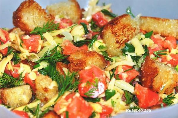 Салат с семгой малосольной