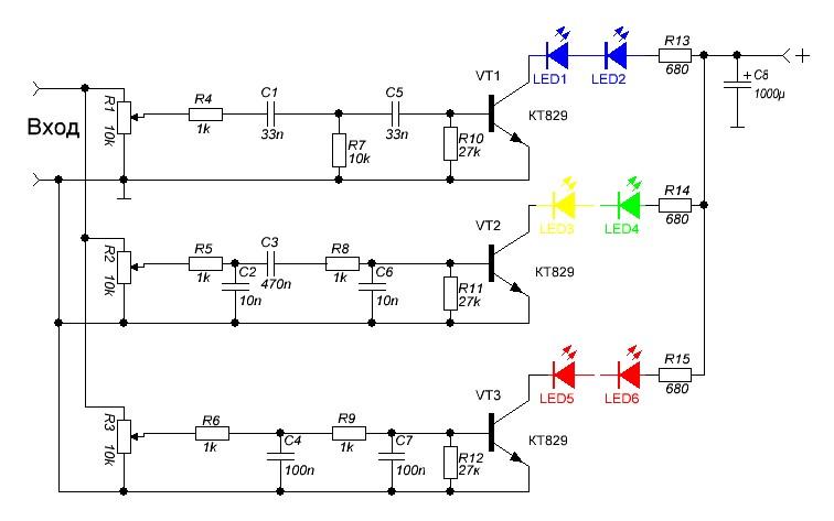 Цветомузыка своими руками схема из светодиодов