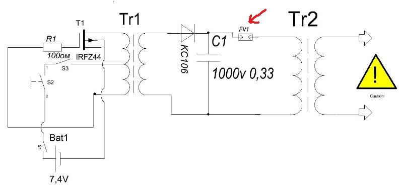 Схема генератора для шокера
