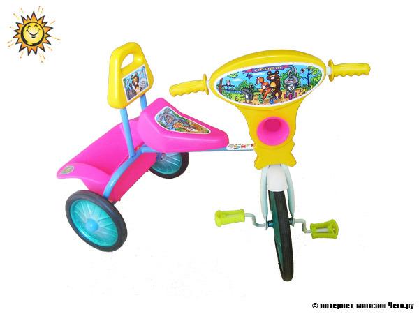 77062. Велосипед трехколесный Малыш со спинкой, кузовком мод.06. Детские В