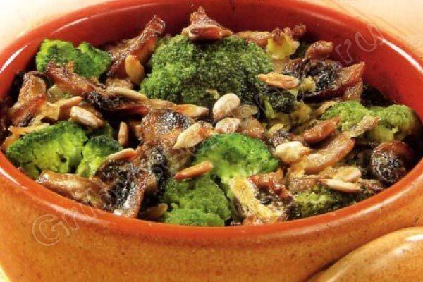 Брокколи запеченная с грибами рецепт