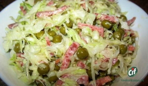 Салат из свежей капусты и горошка рецепты