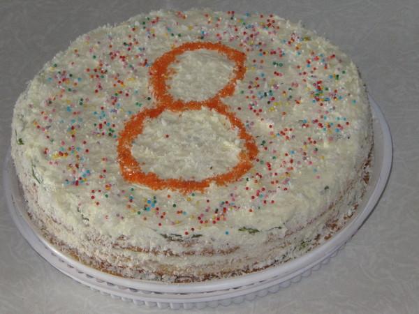 Бисквитный торт с готовыми коржами, бананом и киви с фото