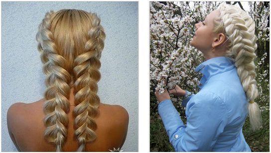 Две косички по бокам на средние волосы