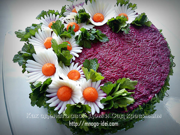 Как украсить селедку под шубой салат