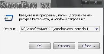 Запустите игру с параметром console как это сделать