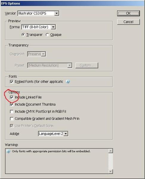 Связанный файл в иллюстраторе не может найти