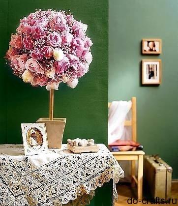 Как сделать дерево из цветов из салфеток