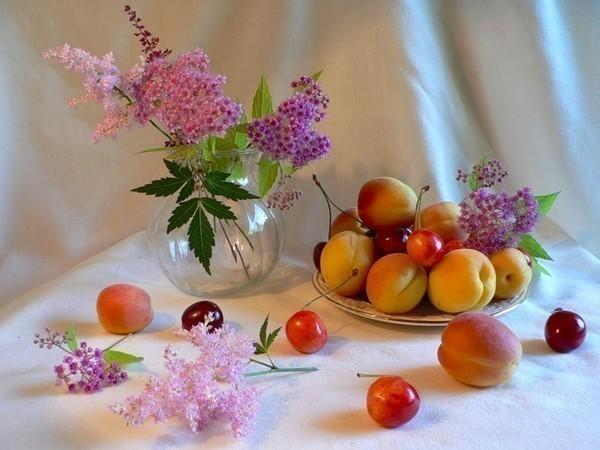 обои на рабочий стол натюрморт с цветами и фруктами № 226395 без смс