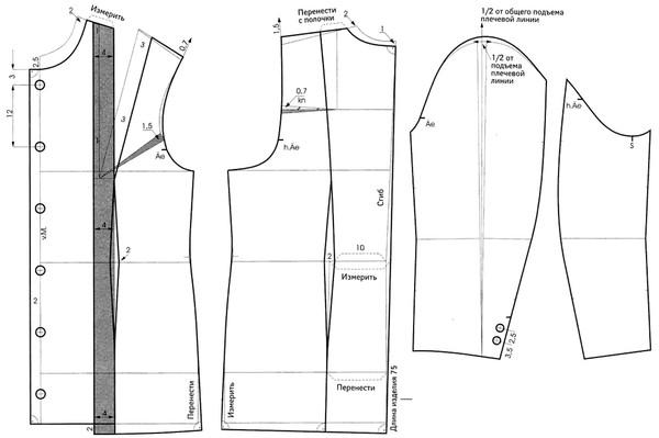 Пошаговое построение выкройки основы платья для начинающих фото 940