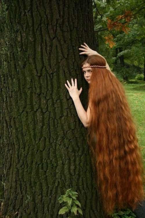 Длинная коса голая