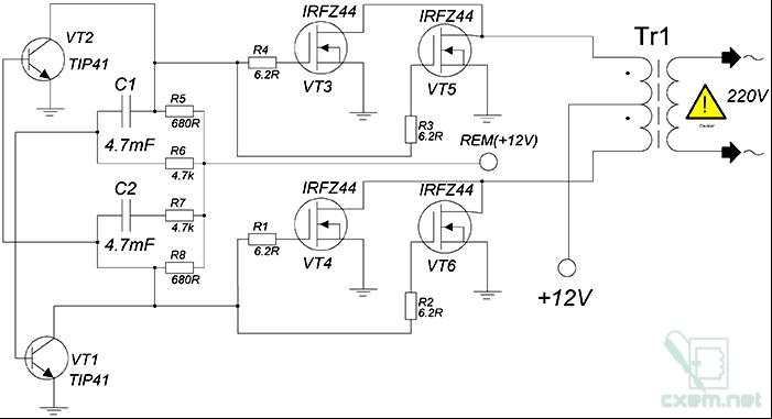 схема преобразователя 12 в 220 в синус