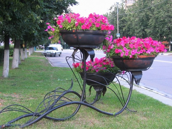 Цветы в вазоне на улице