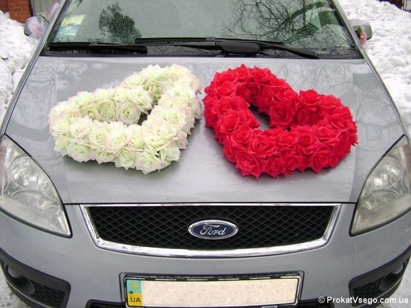 Украшение на машину в виде сердец своими руками