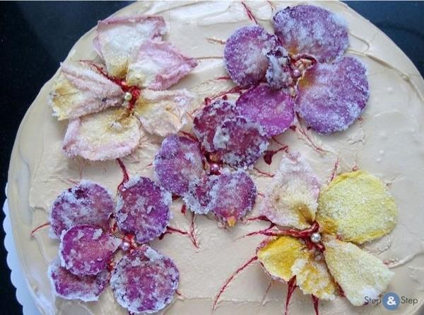 Фото тортов с засахаренными цветами