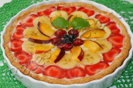 Открытый пирог с фруктами рецепт с фото пошагово