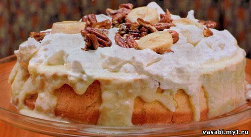 Бисквитный торт с бананом и кремом сгущенкой
