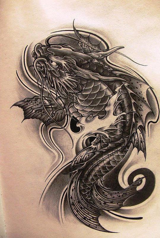 Карп с головой дракона тату