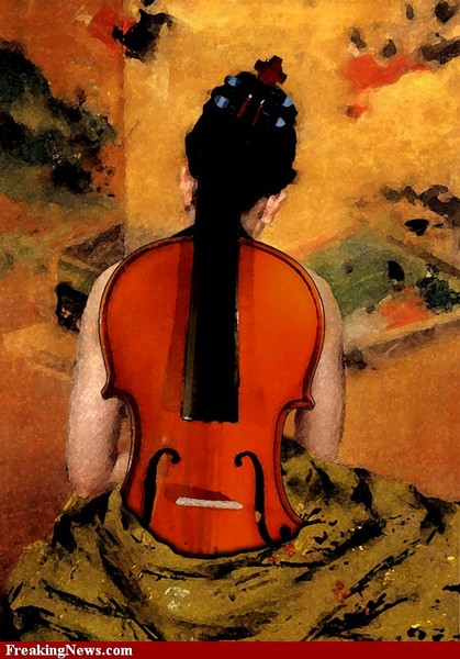 Woman with violin painting