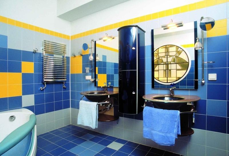 Желто синяя ванная комната дизайн