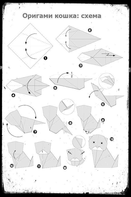 Как сделать кошку из бумаги легко и просто