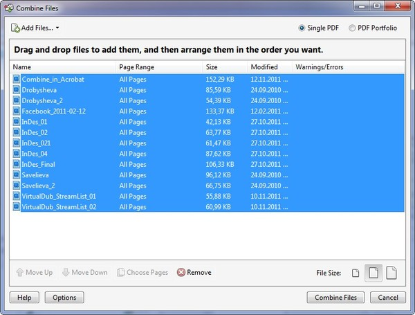 Как объединить фото в пдф файл