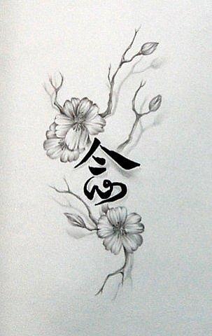 Тату цветы и иероглифы эскизы