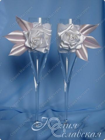 Канзаши бокалы на свадьбу мастер класс
