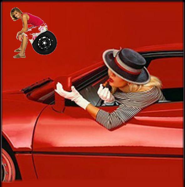 Открытка дама в машине