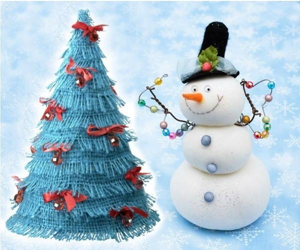 Снеговик под елку своими руками поделка 51