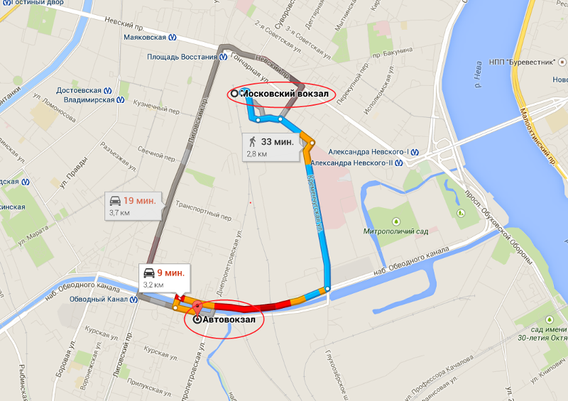 Схема проезда от московского вокзала санкт-петербурга