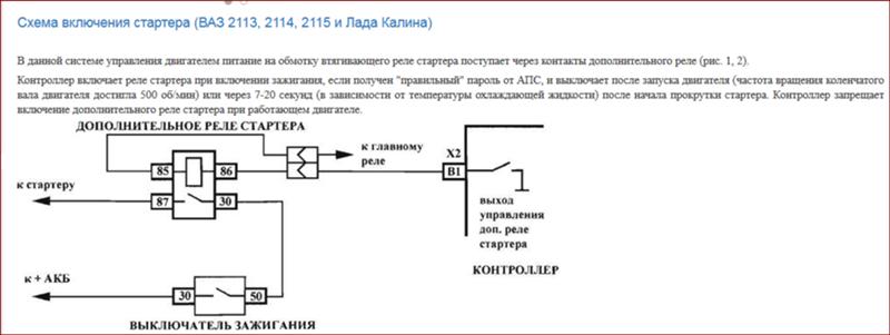Схема подключения стартера на ваз 2113