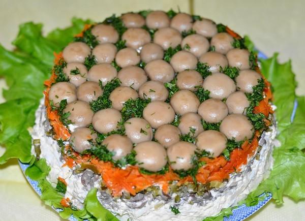 Рецепт салата грибная поляна без