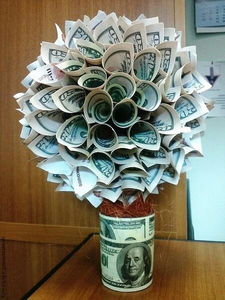 Как сделать денежное дерево из настоящих купюр