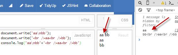"""Ответы@Mail.Ru: Что-то раньше не задумывался, а как сделать перевод на новую строку? document.write(""""\n""""); не работает"""