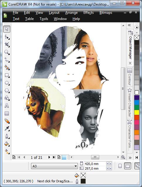 Как в кореле изображение сделать черно белым