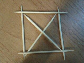 Как сделать из 6 спичек 4 равных треугольника