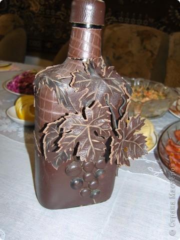 Бутылки декор листьями
