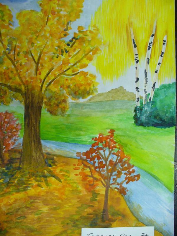 Золотая осень нарисовать с детьми картинки