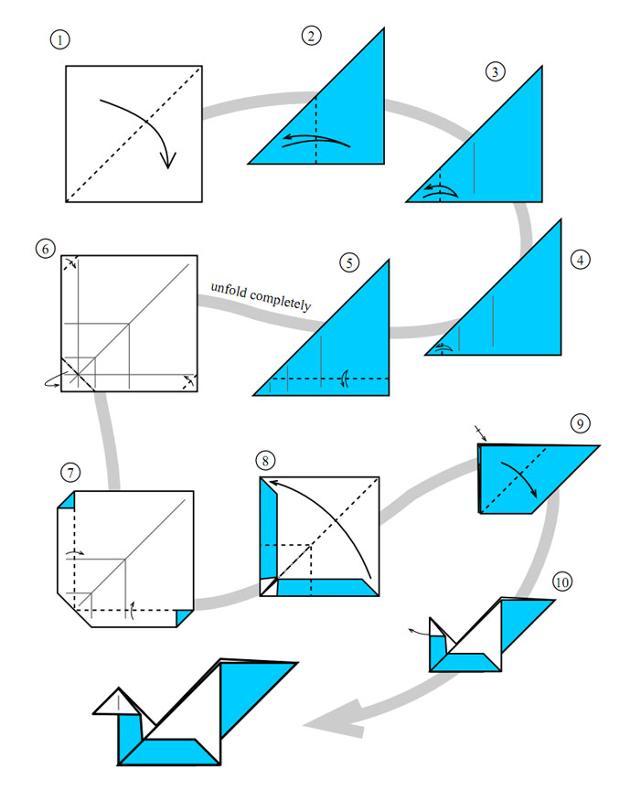 Как сделать лебедь из бумаги оригами