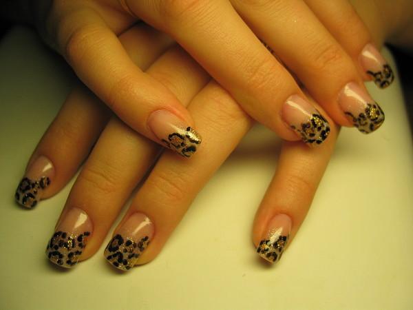 Леопардовый френч ногти