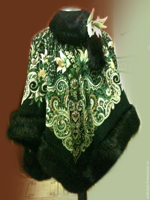 Пальто-пончо из платка своими руками