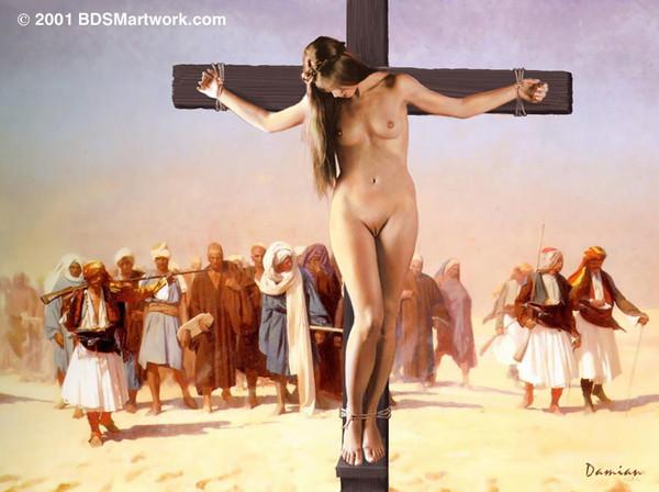 Девушка голая была распята на кресте