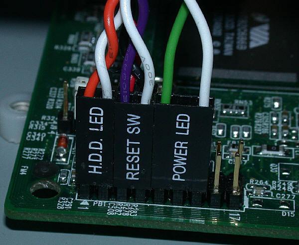 Самый первый этап - это подключение кнопок power, reset на панели корпуса