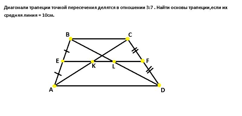 Диагонали в трапеции пересекаясь делятся в отношении