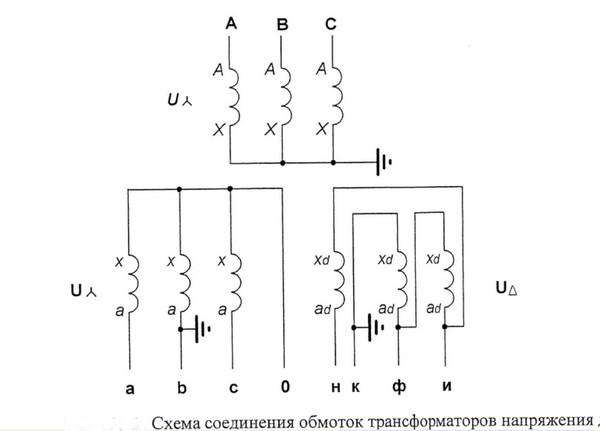 Схемы соединения обмоток измерительных трансформаторов напряжения