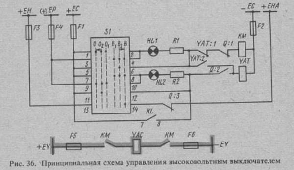 Выключатель высоковольтный на схеме
