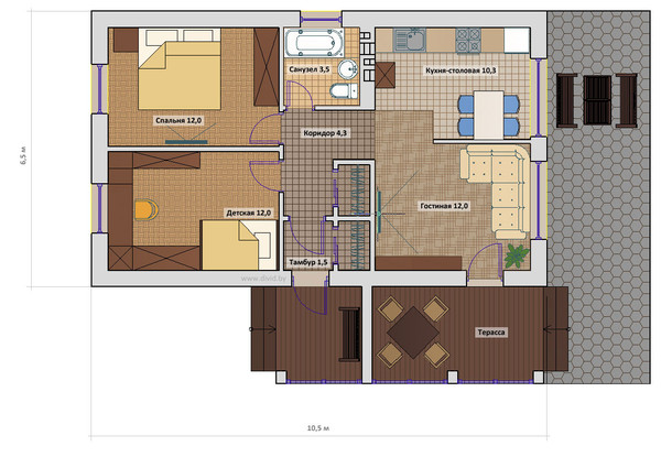 Планировка и дизайн дома одноэтажного